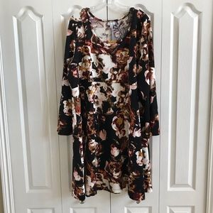 3/4 sleeve fit/flare dress